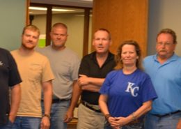From left to right: Don Cawby from Osawatomie, John Krievins and Matt Ponzer from Gardner, Dean Wineinger from Pomona, Glenn Rodden from Baldwin City, Paula Campbell from KMEA, Dennis Tharp from Ottawa, Stewart Kasper from Osawatomie, Rob Culley and Jeff Winkler from Baldwin City